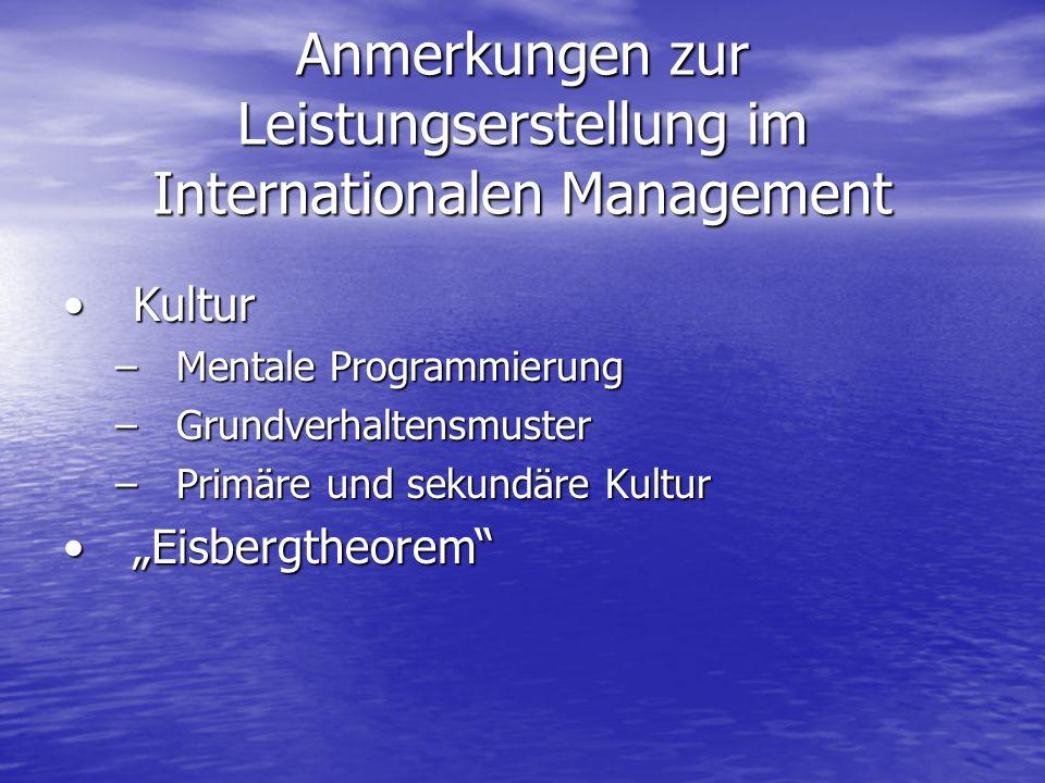 Anmerkungen zur Leistungserstellung im Internationalen Management KulturKultur –Mentale Programmierung –Grundverhaltensmuster –Primäre und sekundäre Kultur EisbergtheoremEisbergtheorem