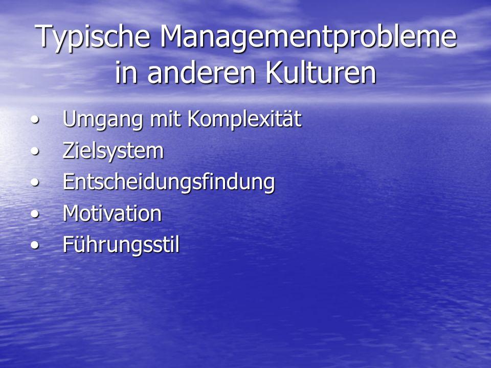Typische Managementprobleme in anderen Kulturen Umgang mit KomplexitätUmgang mit Komplexität ZielsystemZielsystem EntscheidungsfindungEntscheidungsfindung MotivationMotivation FührungsstilFührungsstil