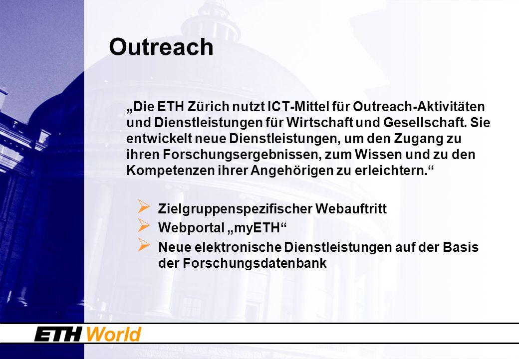 World Outreach Die ETH Zürich nutzt ICT-Mittel für Outreach-Aktivitäten und Dienstleistungen für Wirtschaft und Gesellschaft. Sie entwickelt neue Dien