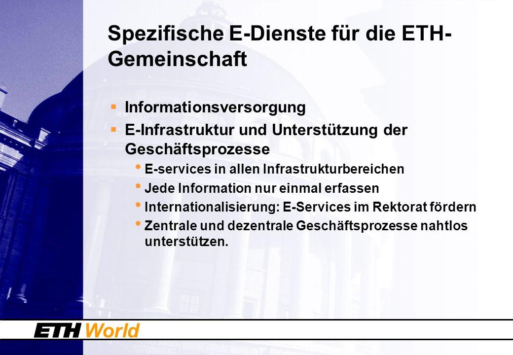 World Spezifische E-Dienste für die ETH- Gemeinschaft Informationsversorgung E-Infrastruktur und Unterstützung der Geschäftsprozesse E-services in all