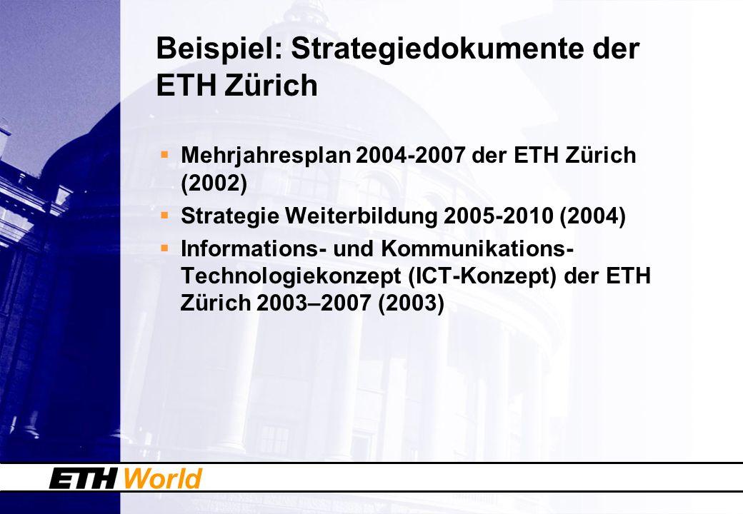 World Mehrjahresplan 2004-2007 der ETH Zürich Ziele Vorbildlich in der Ausbildung sein … Spitzenforschung durchführen und Wissenstransfer realisieren als national verankerte und international führende Research University … modellhaft in der Hochschulführung sein …