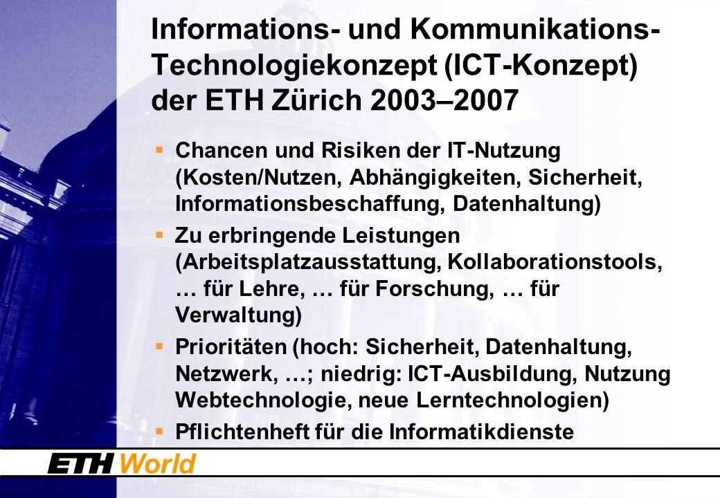 World Informations- und Kommunikations- Technologiekonzept (ICT-Konzept) der ETH Zürich 2003–2007 Chancen und Risiken der IT-Nutzung (Kosten/Nutzen, A