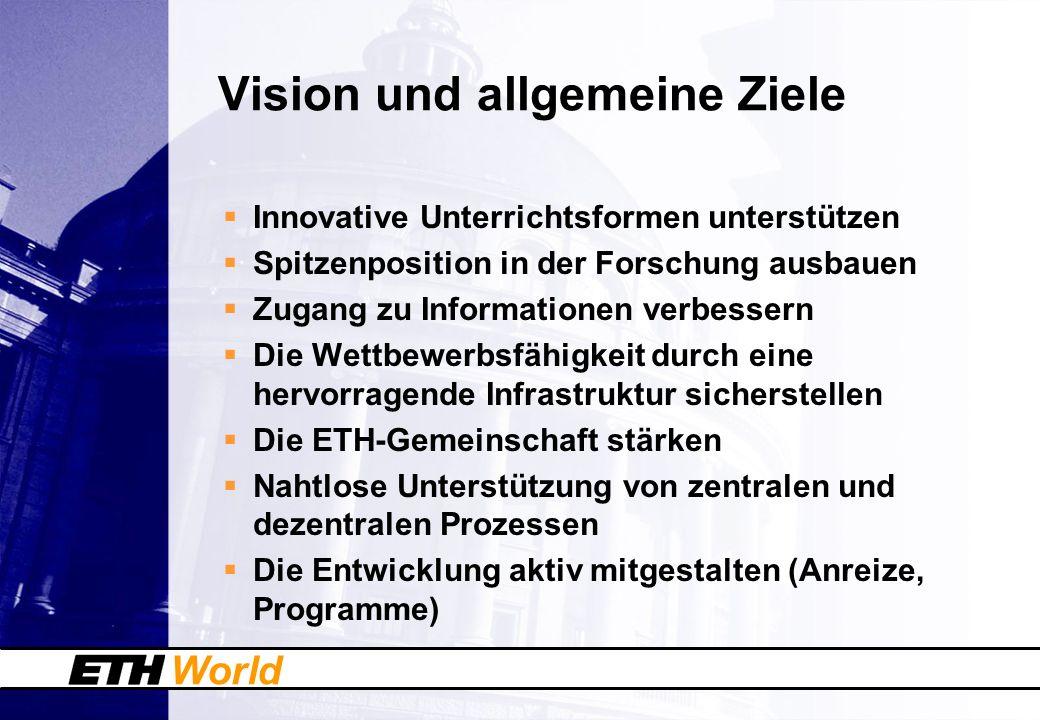 World Vision und allgemeine Ziele Innovative Unterrichtsformen unterstützen Spitzenposition in der Forschung ausbauen Zugang zu Informationen verbesse