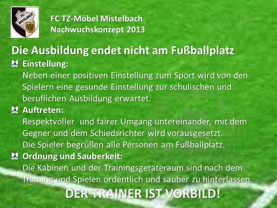 FC TZ-Möbel Mistelbach Nachwuchskonzept 2013 Die Ausbildung endet nicht am Fußballplatz Einstellung: Neben einer positiven Einstellung zum Sport wird
