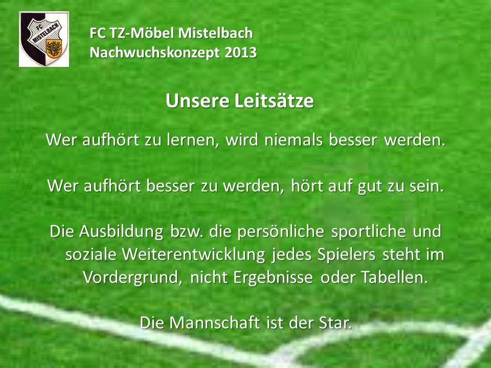 FC TZ-Möbel Mistelbach Nachwuchskonzept 2013 Unsere Leitsätze Wer aufhört zu lernen, wird niemals besser werden. Wer aufhört besser zu werden, hört au