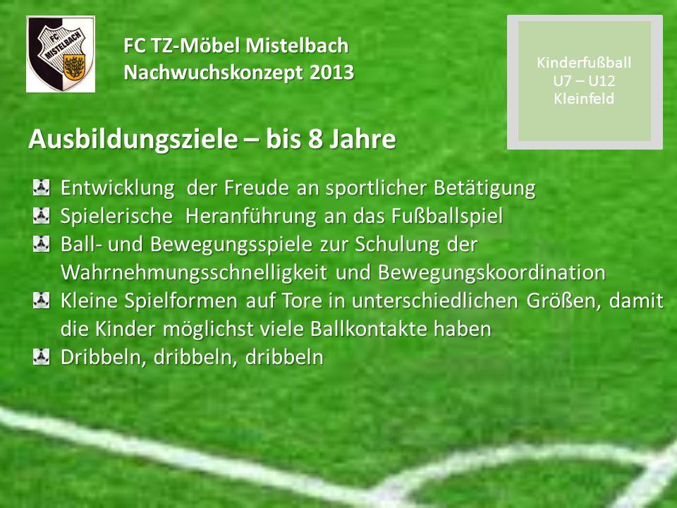 FC TZ-Möbel Mistelbach Nachwuchskonzept 2013 Ausbildungsziele – bis 8 Jahre Entwicklung der Freude an sportlicher Betätigung Spielerische Heranführung