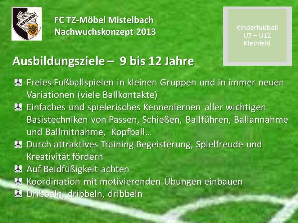 FC TZ-Möbel Mistelbach Nachwuchskonzept 2013 Ausbildungsziele – 9 bis 12 Jahre Freies Fußballspielen in kleinen Gruppen und in immer neuen Variationen