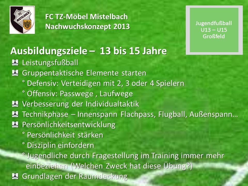FC TZ-Möbel Mistelbach Nachwuchskonzept 2013 Ausbildungsziele – 13 bis 15 Jahre Leistungsfußball Gruppentaktische Elemente starten ° Defensiv: Verteid