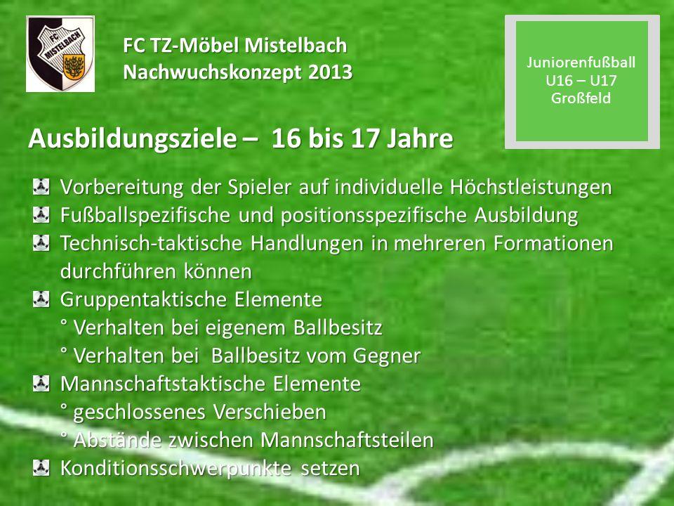 FC TZ-Möbel Mistelbach Nachwuchskonzept 2013 Ausbildungsziele – 16 bis 17 Jahre Vorbereitung der Spieler auf individuelle Höchstleistungen Fußballspez