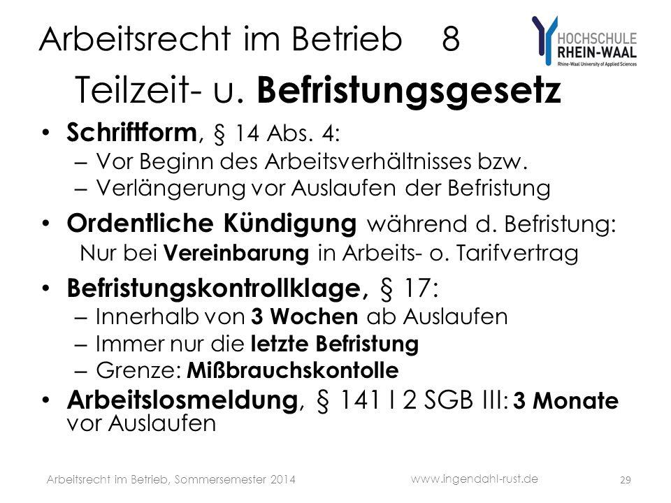 Arbeitsrecht im Betrieb 8 Teilzeit- u.Befristungsgesetz Schriftform, § 14 Abs.