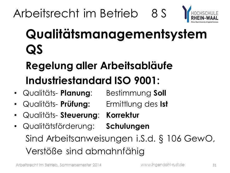 Arbeitsrecht im Betrieb 8 S Qualitätsmanagementsystem QS Regelung aller Arbeitsabläufe Industriestandard ISO 9001: Qualitäts- Planung :Bestimmung Soll Qualitäts- Prüfung: Ermittlung des Ist Qualitäts- Steuerung : Korrektur Qualitätsförderung: Schulungen Sind Arbeitsanweisungen i.S.d.