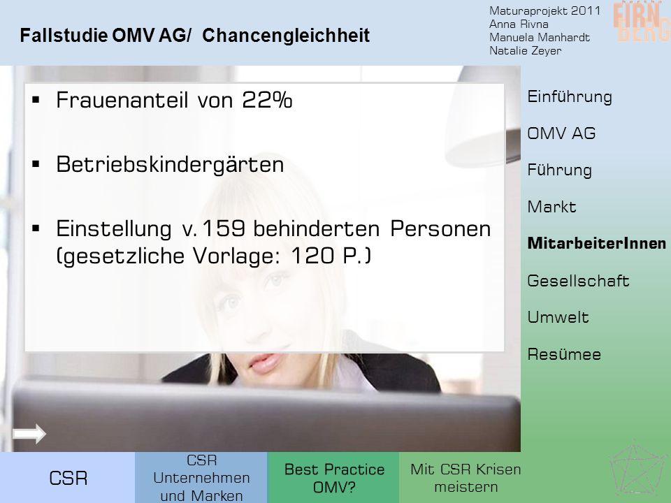 Maturaprojekt 2011 Anna Rivna Manuela Manhardt Natalie Zeyer CSR Fallstudie OMV AG/ Chancengleichheit Frauenanteil von 22% Betriebskinderg ä rten Eins