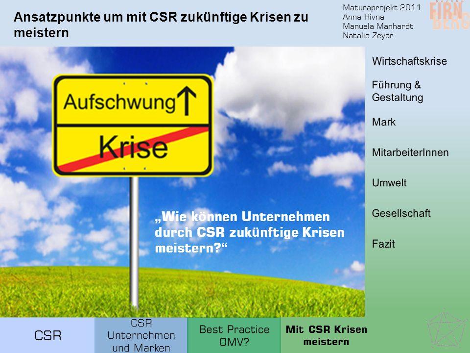 Maturaprojekt 2011 Anna Rivna Manuela Manhardt Natalie Zeyer CSR Ansatzpunkte um mit CSR zukünftige Krisen zu meistern Wie k ö nnen Unternehmen durch