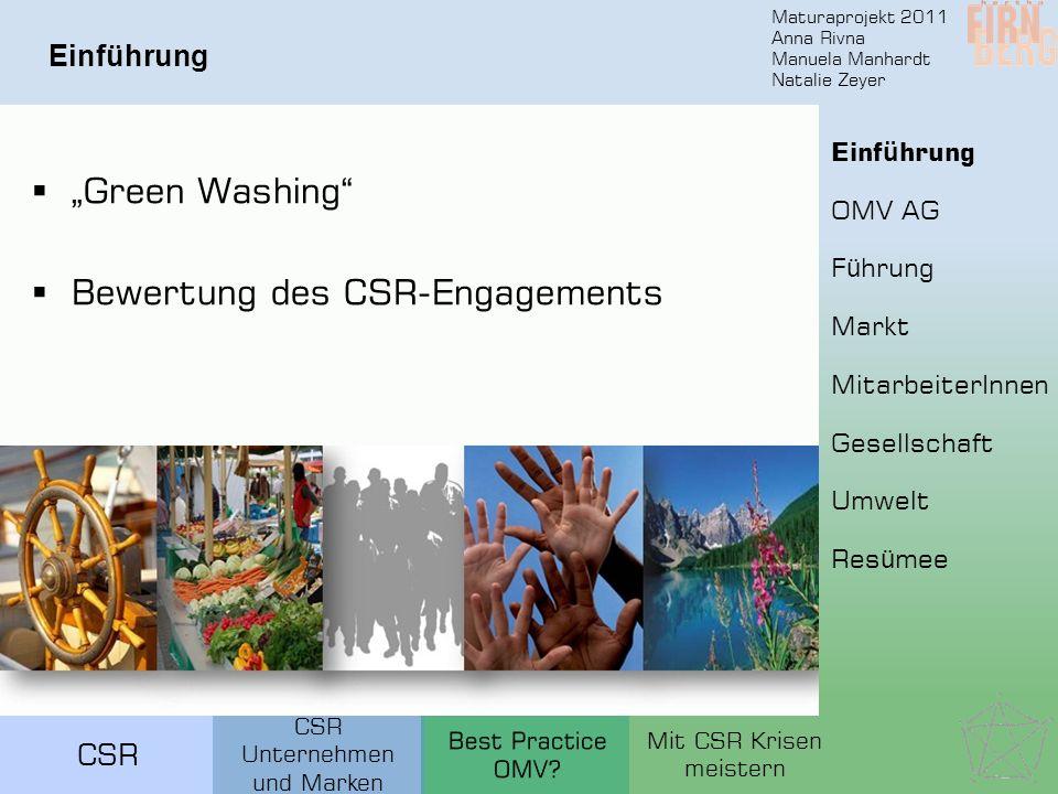 Maturaprojekt 2011 Anna Rivna Manuela Manhardt Natalie Zeyer CSR Einführung F ü hrung Markt MitarbeiterInnen Gesellschaft Umwelt Res ü mee OMV AG Einf