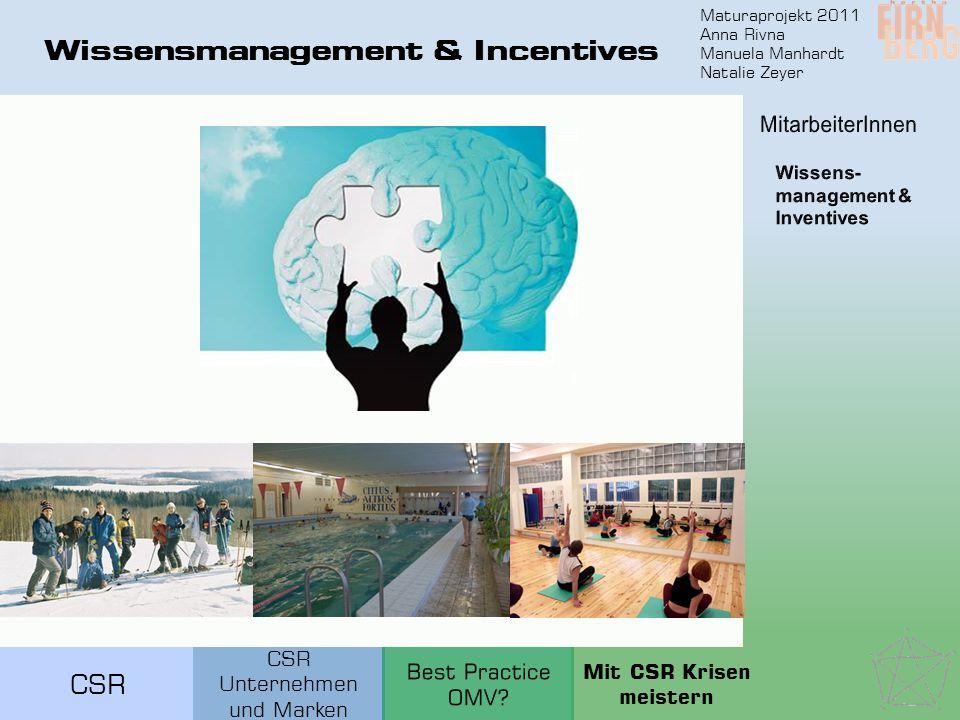 Maturaprojekt 2011 Anna Rivna Manuela Manhardt Natalie Zeyer CSR Wissensmanagement & Incentives CSR Unternehmen und Marken Mit CSR Krisen meistern