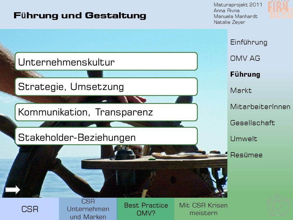 Maturaprojekt 2011 Anna Rivna Manuela Manhardt Natalie Zeyer CSR F ü hrung und Gestaltung Unternehmenskultur Strategie, Umsetzung Kommunikation, Trans