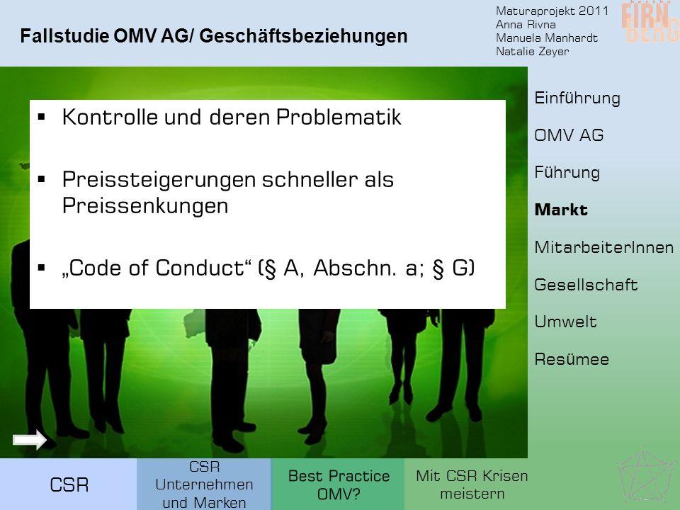 Maturaprojekt 2011 Anna Rivna Manuela Manhardt Natalie Zeyer CSR Kontrolle und deren Problematik Preissteigerungen schneller als Preissenkungen Code o