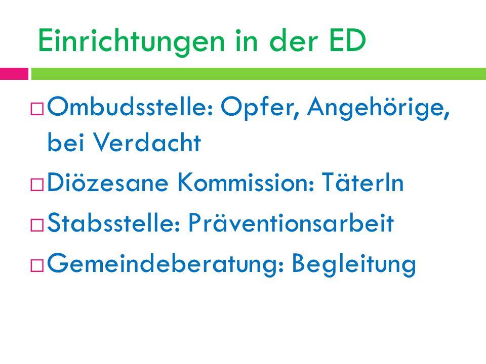 Einrichtungen in der ED Ombudsstelle: Opfer, Angehörige, bei Verdacht Diözesane Kommission: TäterIn Stabsstelle: Präventionsarbeit Gemeindeberatung: B