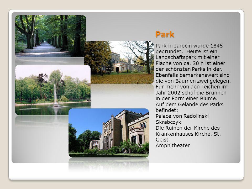 Park Park in Jarocin wurde 1845 gegründet. Heute ist ein Landschaftspark mit einer Fläche von ca. 30 h ist einer der schönsten Parks in der. Ebenfalls