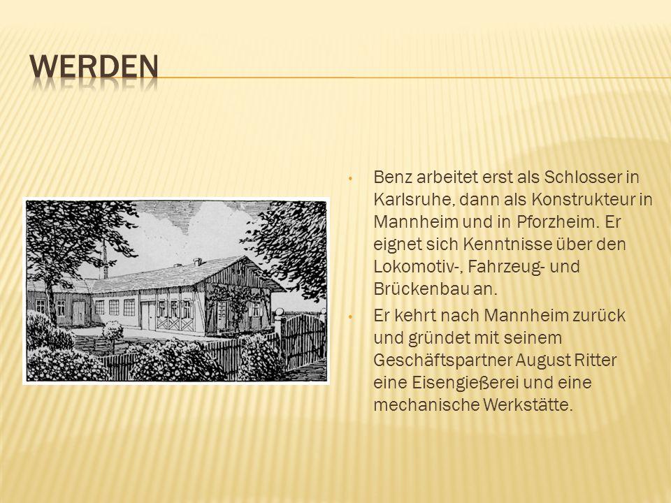 Benz arbeitet erst als Schlosser in Karlsruhe, dann als Konstrukteur in Mannheim und in Pforzheim. Er eignet sich Kenntnisse über den Lokomotiv-, Fahr