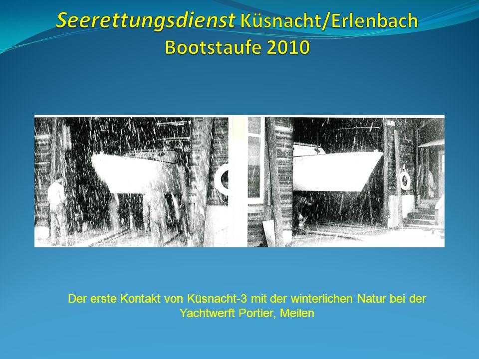 Der erste Kontakt von Küsnacht-3 mit der winterlichen Natur bei der Yachtwerft Portier, Meilen