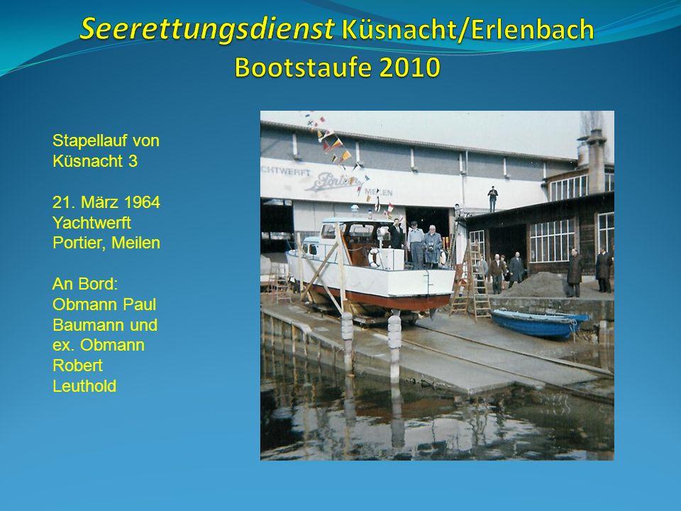 Ein Teil der Übernahme- Mannschaft des Seerettungsdienstes Von links: Otto Wehrli Walter Elsener Peter Sturzenegger Paul Hirt Walter Baumann
