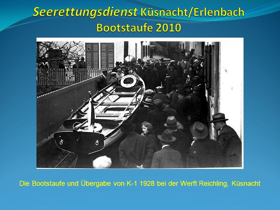 Die Bootstaufe und Übergabe von K-1 1928 bei der Werft Reichling, Küsnacht