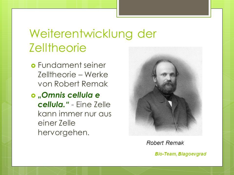 Weiterentwicklung der Zelltheorie Bio-Team, Blagoevgrad Fundament seiner Zelltheorie – Werke von Robert Remak Omnis cellula e cellula. - Eine Zelle ka