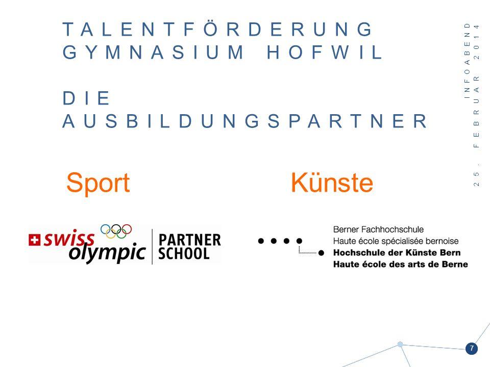 25. FEBRUAR 2014 7 TALENTFÖRDERUNG GYMNASIUM HOFWIL DIE AUSBILDUNGSPARTNER SportKünste