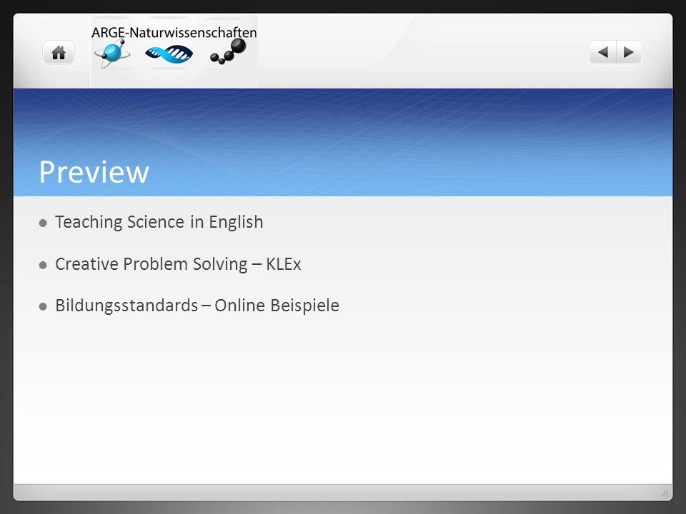Preview Teaching Science in English Creative Problem Solving – KLEx Bildungsstandards – Online Beispiele