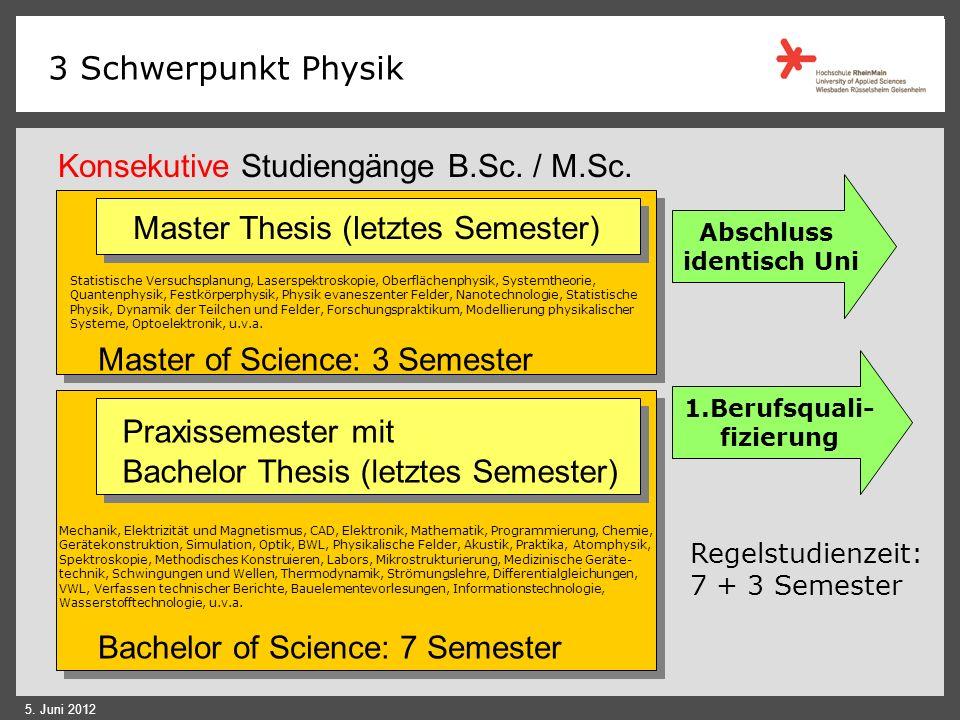 3 Schwerpunkt Physik 5. Juni 2012 Der Weg: Kombination einer breiten physikalisch-naturwissenschaftlich- technischen Ausbildung mit der Praxis der Ing