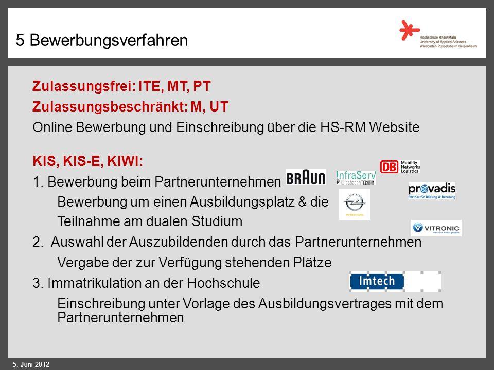 5 Warum an der HS RheinMain? Wir bieten... Moderne, aktuelle Studiengänge hohen Praxisbezug durch Praktika, Projekte und Berufspraktische Tätigkeit en
