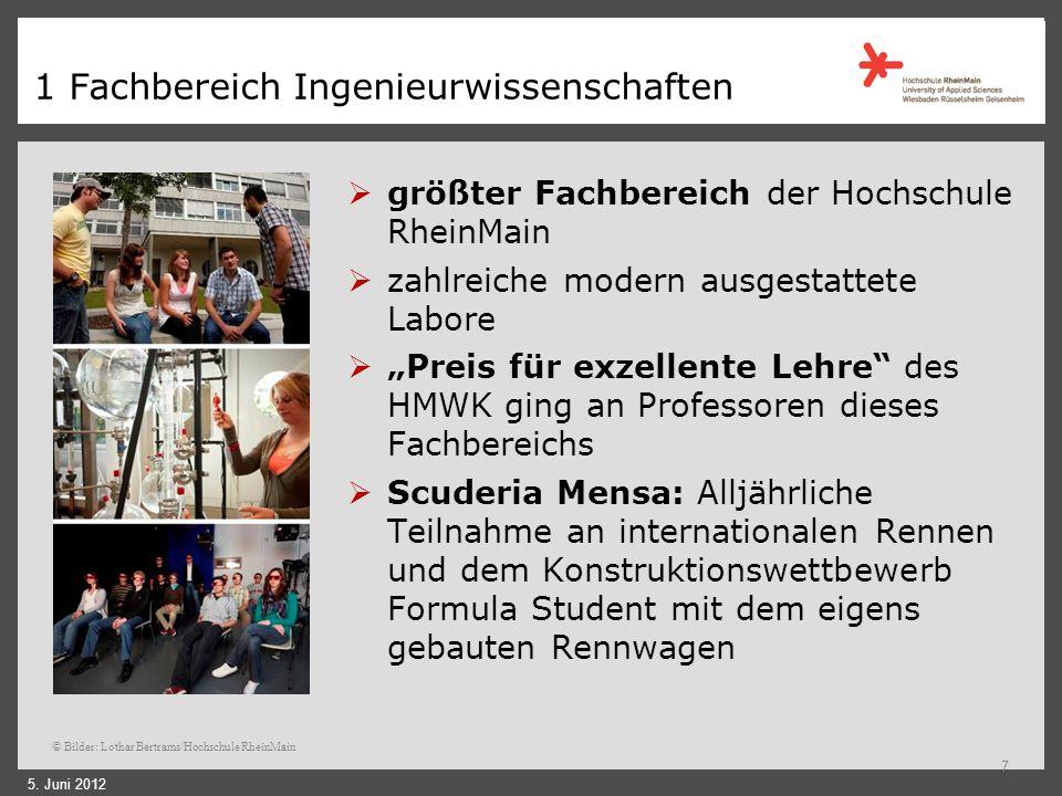 1 Fachbereich Ingenieurwissenschaften Campus Am Brückweg Standort des Fachbereichs Ingenieurwissenschaften CIM-Zentrum vorwiegend berufsbegleitende We