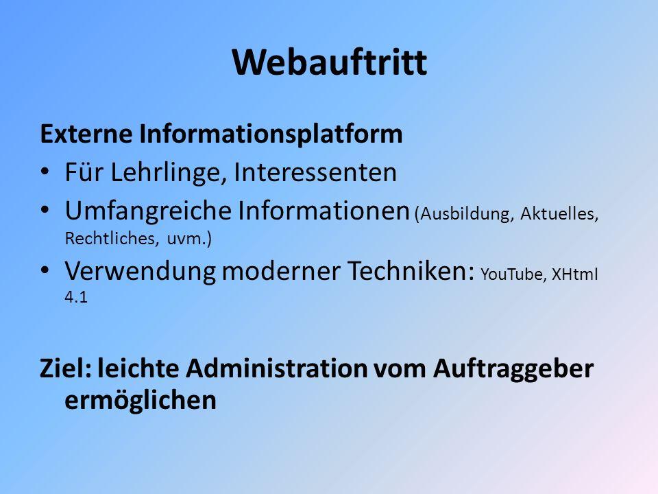 Webauftritt Externe Informationsplatform Für Lehrlinge, Interessenten Umfangreiche Informationen (Ausbildung, Aktuelles, Rechtliches, uvm.) Verwendung