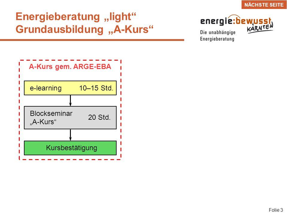 Blockseminar 1 Bautechnik 28 Std.Energieberatung gemäß ARGE-EBA Folie 4 e-learning30–40 Std.