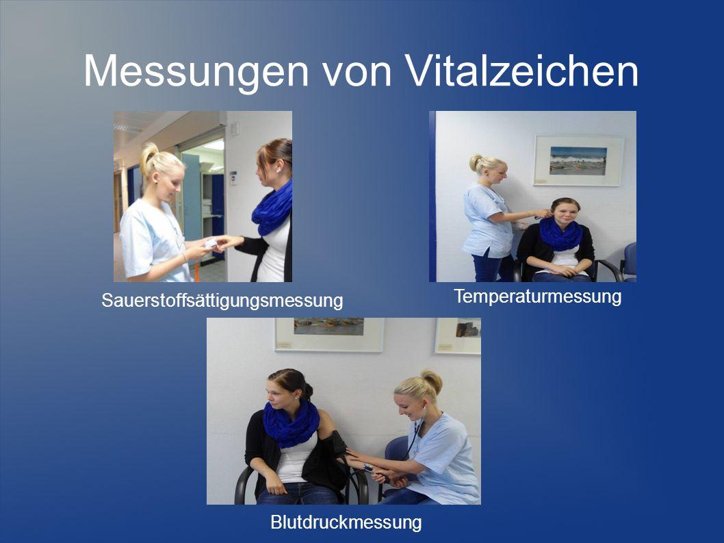 Messungen von Vitalzeichen Blutdruckmessung Sauerstoffsättigungsmessung Temperaturmessung