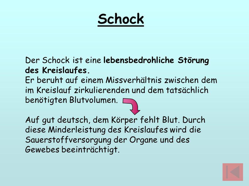 Schock Der Schock ist eine lebensbedrohliche Störung des Kreislaufes. Er beruht auf einem Missverhältnis zwischen dem im Kreislauf zirkulierenden und