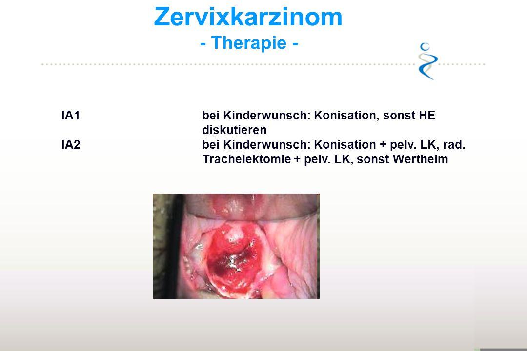 Zervixkarzinom - Therapie - IA1bei Kinderwunsch: Konisation, sonst HE diskutieren IA2bei Kinderwunsch: Konisation + pelv. LK, rad. Trachelektomie + pe