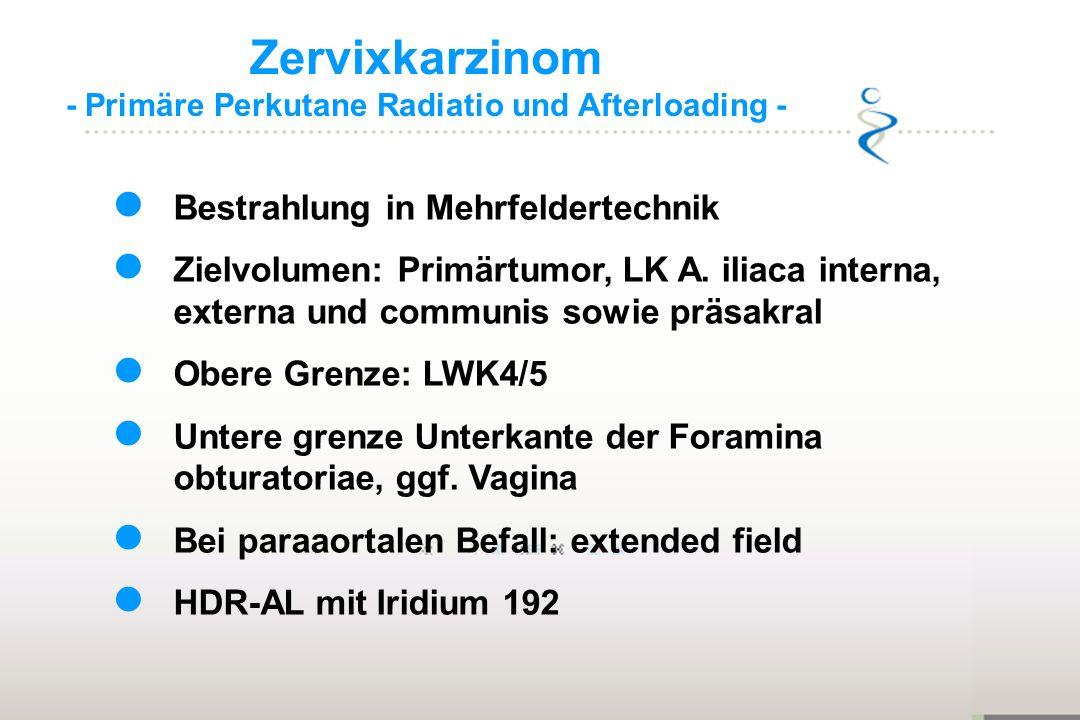 Zervixkarzinom - Primäre Perkutane Radiatio und Afterloading - Bestrahlung in Mehrfeldertechnik Zielvolumen: Primärtumor, LK A. iliaca interna, extern