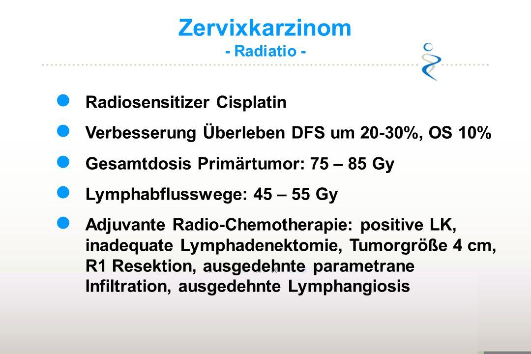 Zervixkarzinom - Radiatio - Radiosensitizer Cisplatin Verbesserung Überleben DFS um 20-30%, OS 10% Gesamtdosis Primärtumor: 75 – 85 Gy Lymphabflussweg