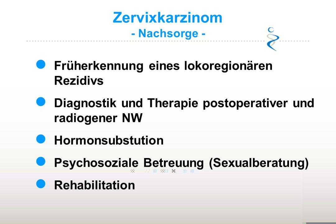 Zervixkarzinom - Nachsorge - Früherkennung eines lokoregionären Rezidivs Diagnostik und Therapie postoperativer und radiogener NW Hormonsubstution Psy