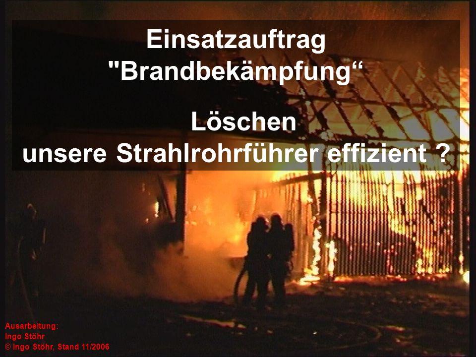 Der Vortrag soll aufzeigen, wie die Ausbildung von Strahlrohrführern aussehen kann, damit eine Brandbekämpfung konsequent und effizient durchgeführt wird