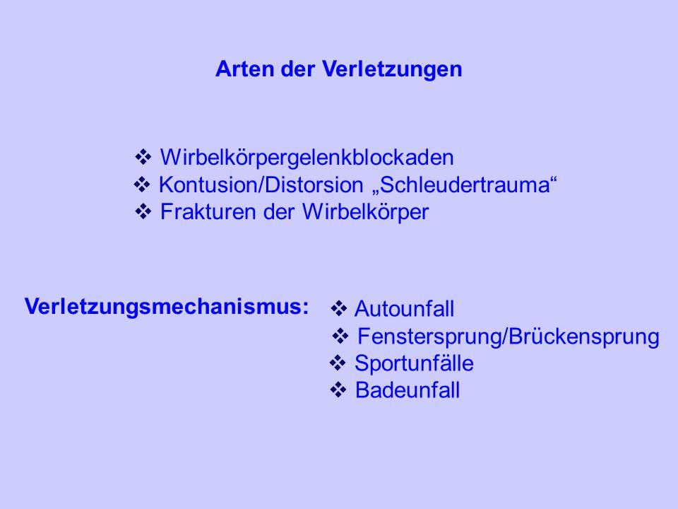 Arten der Verletzungen Wirbelkörpergelenkblockaden Kontusion/Distorsion Schleudertrauma Frakturen der Wirbelkörper Verletzungsmechanismus: Autounfall Fenstersprung/Brückensprung Sportunfälle Badeunfall