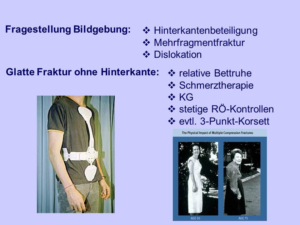 Fragestellung Bildgebung: Hinterkantenbeteiligung Mehrfragmentfraktur Dislokation Glatte Fraktur ohne Hinterkante: relative Bettruhe Schmerztherapie K
