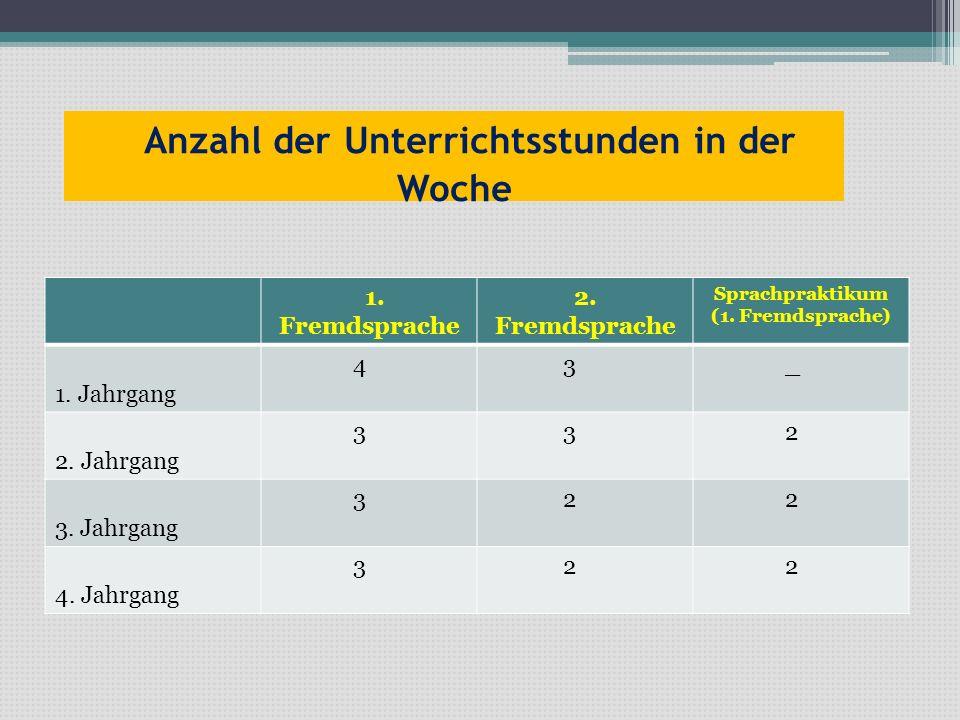 Anzahl der Unterrichtsstunden in der Woche 1. Fremdsprache 2. Fremdsprache Sprachpraktikum (1. Fremdsprache) 1. Jahrgang 4 3 _ 2. Jahrgang 3 3 2 3. Ja
