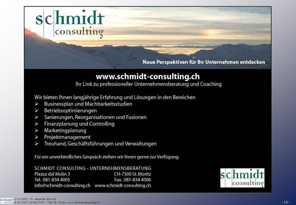 - 12 - © SCHMIDT CONSULTING – 7500 St. Moritz - www.schmidt-consulting.ch 27.11.2003 / Dr. Alexander Schmidt