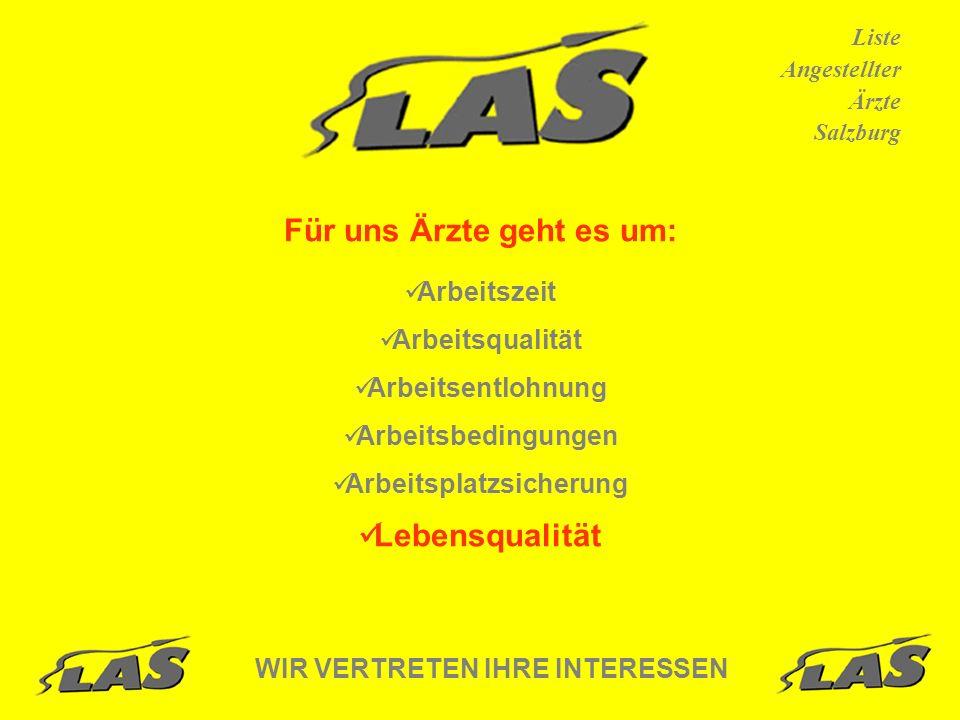 Liste Angestellter Ärzte Salzburg Für uns Ärzte geht es um: Arbeitszeit Arbeitsqualität Arbeitsentlohnung Arbeitsbedingungen Arbeitsplatzsicherung Lebensqualität WIR VERTRETEN IHRE INTERESSEN