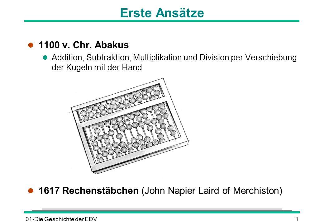 01-Die Geschichte der EDV1 Erste Ansätze l 1100 v. Chr. Abakus l Addition, Subtraktion, Multiplikation und Division per Verschiebung der Kugeln mit de