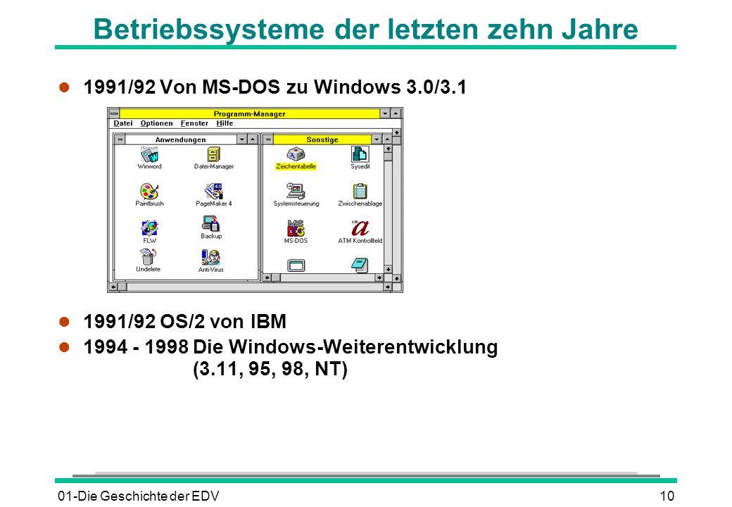 01-Die Geschichte der EDV10 l 1991/92 Von MS-DOS zu Windows 3.0/3.1 l 1991/92 OS/2 von IBM l 1994 - 1998Die Windows-Weiterentwicklung (3.11, 95, 98, N