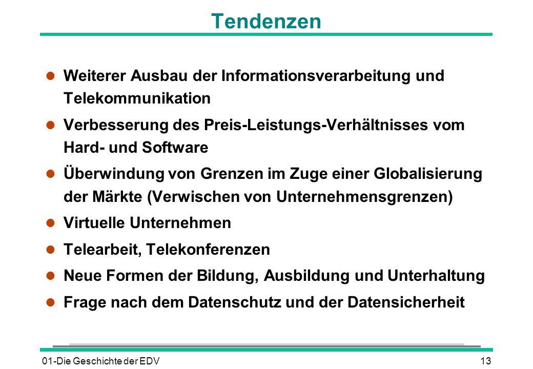 01-Die Geschichte der EDV13 Tendenzen l Weiterer Ausbau der Informationsverarbeitung und Telekommunikation l Verbesserung des Preis-Leistungs-Verhältn